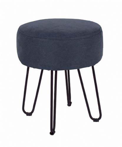Blue Dressing Table Stool with Upholstered Top
